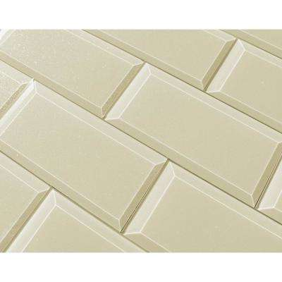 3 in. x 6 in. Frosted Elegance Cecillia Creme Sparkle Glass Peel and Stick Wall Tile Sample