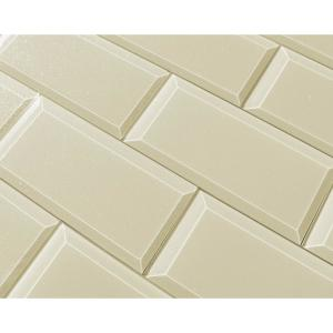 "Subway 3"" x 6"" Rectangle Beige Taupe Beveled Glossy Glass Peel & Stick Decorative Bathroom Wall Tile Backsplash Sample"