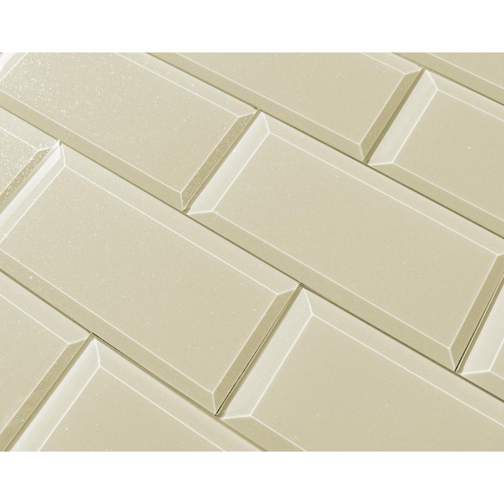 "Beige Taupe Subway Rectangle 3"" x 6"" Glossy Glass Peel & Stick Decorative Bathroom Wall Backsplash Tile (8 Piece /Pack)"