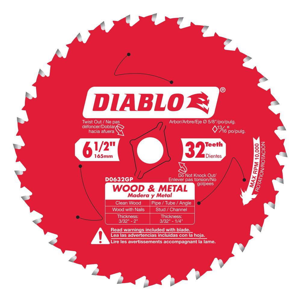 6-1/2 in. x 32-Teeth Wood and Metal Saw Blade