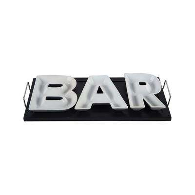4-Piece Black/White Ceramic 'Bar' on Wood Tray with Stainless Handles