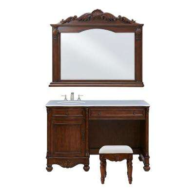 Penn Vanity Set include a Sink and a Mirror and a Chair Teak Color .