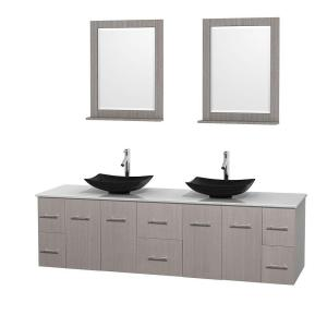 Wyndham Collection Centra 80 inch Double Vanity in Gray Oak with Solid-Surface Vanity Top in White, Black Granite Sinks... by Wyndham Collection