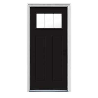36 in. x 80 in. 3 Lite Craftsman Black Painted Steel Prehung Left-Hand Inswing Front Door w/Brickmould