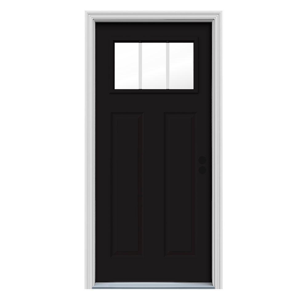 36 in. x 80 in. 3 Lite Craftsman Black Painted Steel Prehung Left-Hand Inswing Front Door w/Brickmould