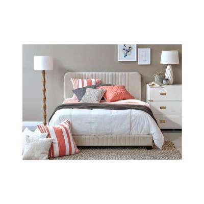 All-in-One Beige Queen Bed with Channeled Headboard and Footboard