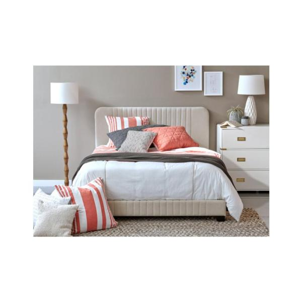 Pulaski Furniture All-in-One Beige Queen Bed with Channeled Headboard and