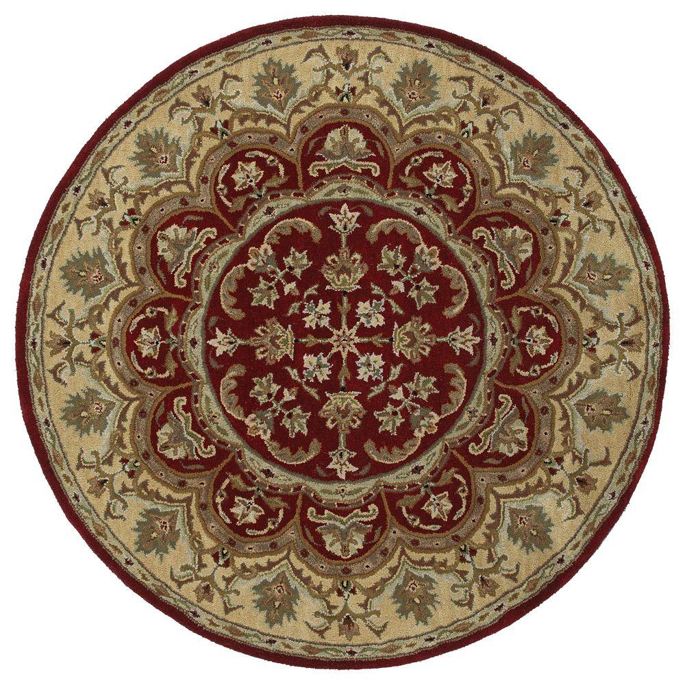 kaleen tara leonardo burgundy 9 ft 9 in x 9 ft 9 in round area rug 7706 04 9 9 rnd the. Black Bedroom Furniture Sets. Home Design Ideas
