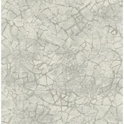 Starkweather Metallic Silver and Gray Cracked Stone Wallpaper