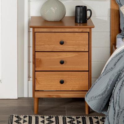 Classic Mid Century Modern 3-Drawer Caramel Solid Wood Nightstand