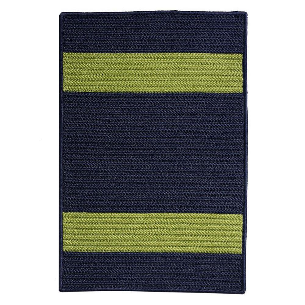 Cafe Milano Navy/Green 9 ft. x 9 ft. Braided Indoor/Outdoor Area Rug