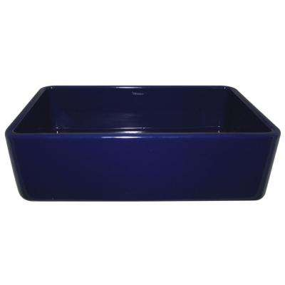 Duet Reversible Farmhaus Series Apron Front Fireclay 36 in. Single Bowl Kitchen Sink in Sapphire Blue