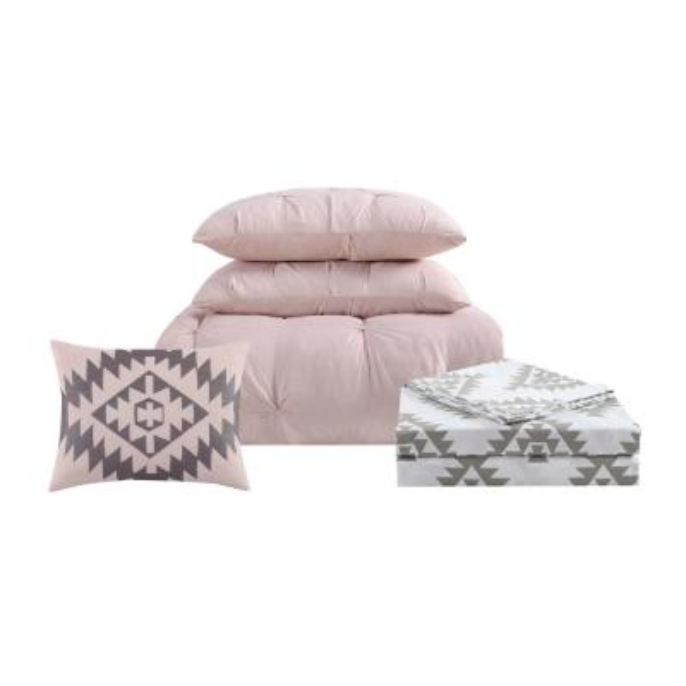 Pueblo Pleated 8-Piece Blush Queen Bed in a Bag Set