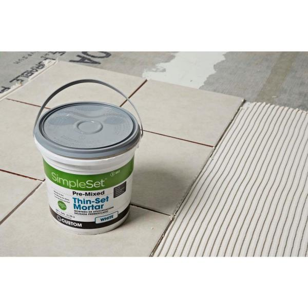 Custom Building Products Simpleset White 3 1 2 Gal Pre Mixed Thin Set Mortar Sttsw3 The Home Depot