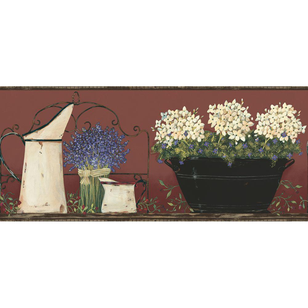 York Wallcoverings 9 in. Hydrangea and Agate Border