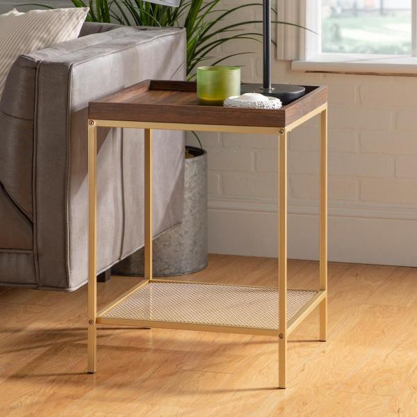 18 in. Dark Walnut/Gold Square Wood Side Table with Lower Mesh Shelf