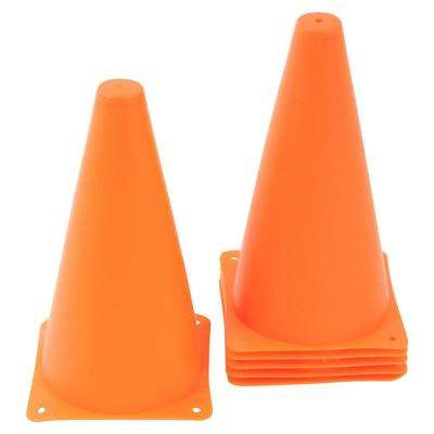 9 in. Plastic Sports Training Cone Orange (6-Pack)