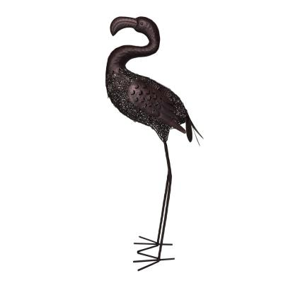 35 in. Steel Indoor/ Outdoor Animal Garden Curved Neck Flamingo Metal Bird Sculpture Statue with Solar Light