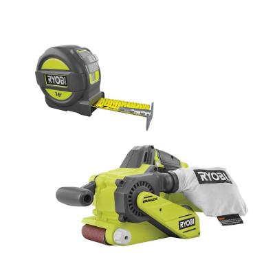 18-Volt ONE+ Cordless Brushless 3 in.x18 in. Belt Sander with Dust Bag and 80-Grit Sanding Belt with 16 ft. Tape Measure