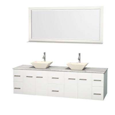 Centra 80 in. Double Vanity in White with Marble Vanity Top in Carrara White, Bone Porcelain Sinks and 70 in. Mirror