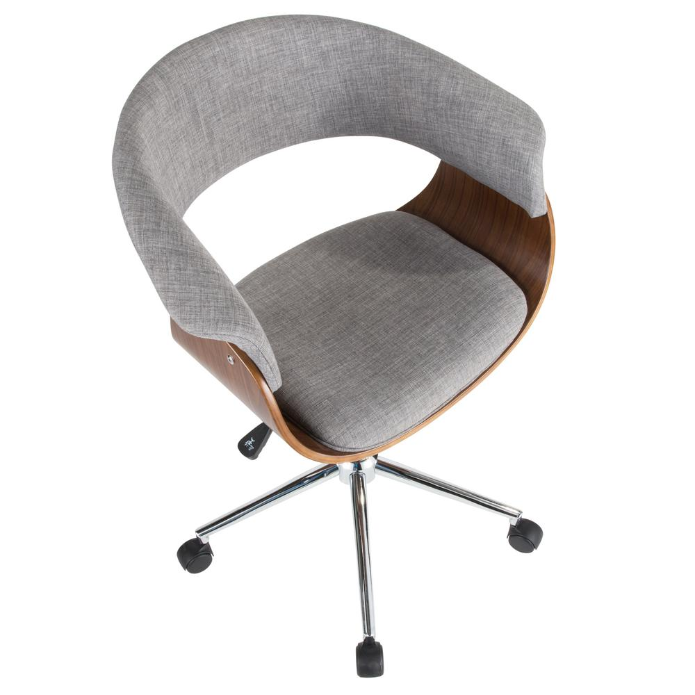 Lumisource Vintage Mod Walnut And Light Grey Office Chair Oc Vmo Wl Lgy The Home Depot
