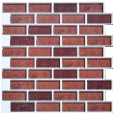 12. in x 12 in. Peel and Stick Vinyl Backsplash Tile in Dark Red (6-Pack)