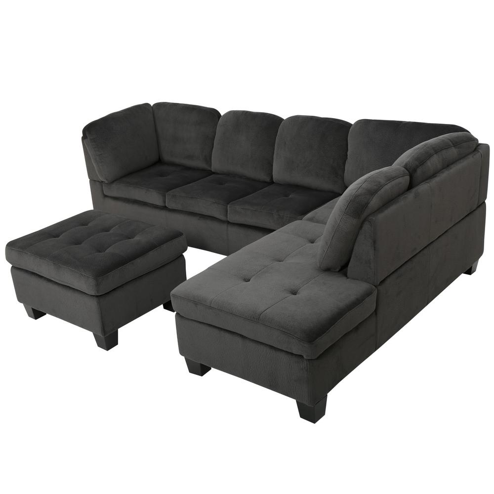 Noble House Presley Charcoal Fabric Sectional Set