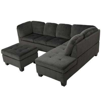 Presley Charcoal Fabric Sectional Set