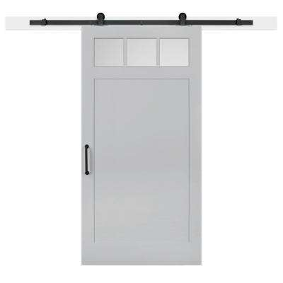 42 in. x 84 in. Gray Geese Craftsman 3-Lite Clear  Solid-Core MDF Barn Door with Sliding Door Hardware Kit