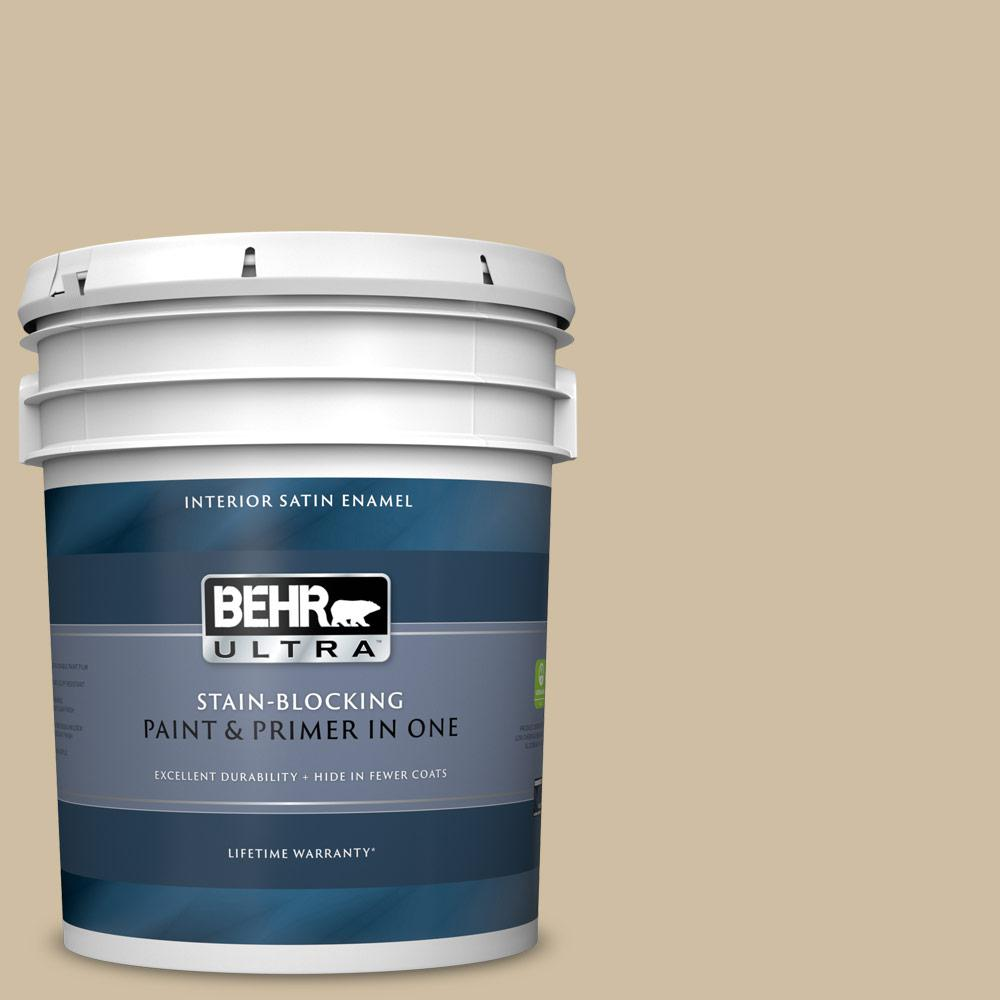Behr Ultra 5 Gal S320 3 Final Straw Satin Enamel Interior Paint And Primer In One 775405 The Home Depot