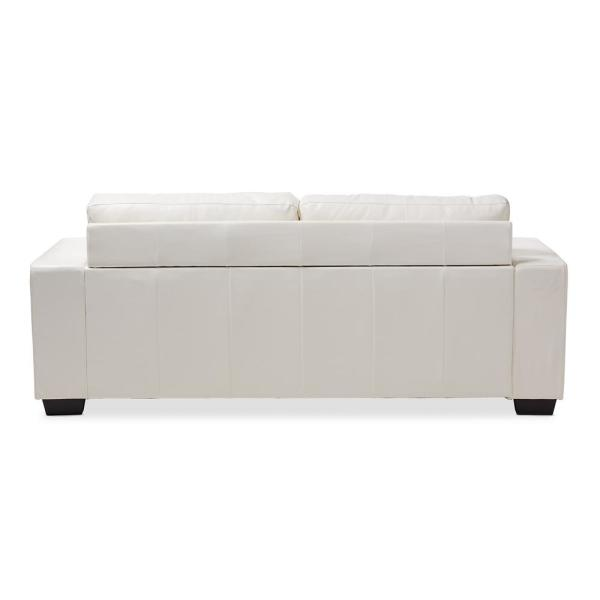 Peachy Baxton Studio Adalynn White Faux Leather Sofa 146 8352 Hd Onthecornerstone Fun Painted Chair Ideas Images Onthecornerstoneorg