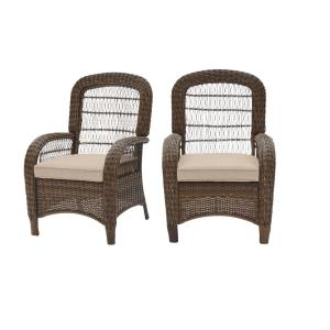 Beacon Park Brown Wicker Outdoor Patio Captain Dining Chair with CushionGuard Putty Tan Cushions (2-Pack)