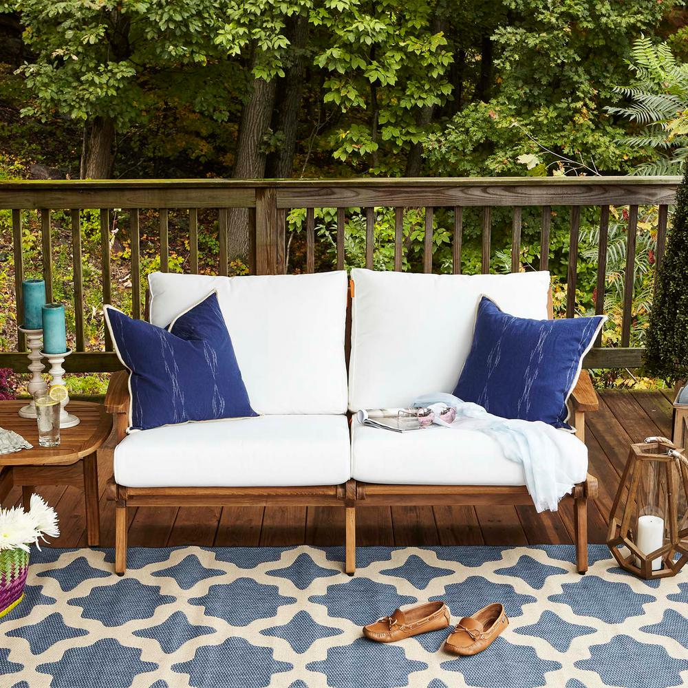 Amazing Modway Saratoga Teak Outdoor Loveseat In Natural With White Cushions Evergreenethics Interior Chair Design Evergreenethicsorg