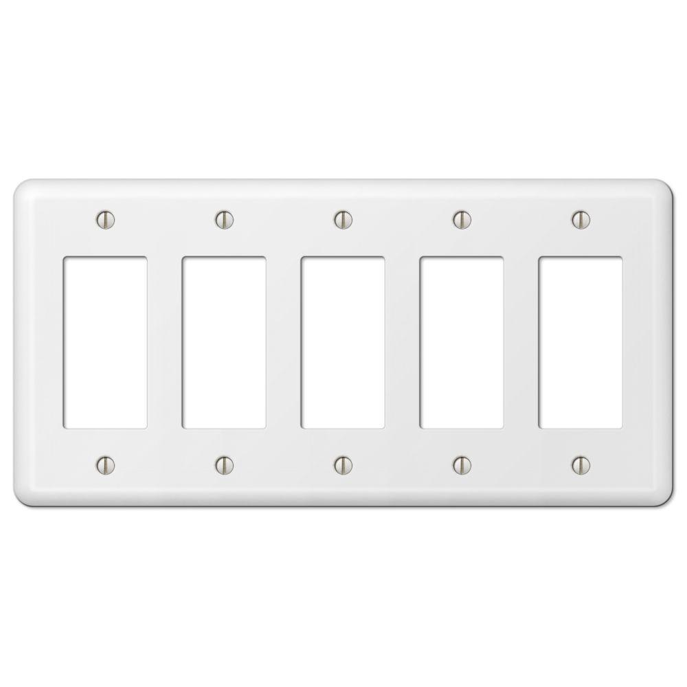 Declan 5 Gang Rocker Steel Wall Plate - White