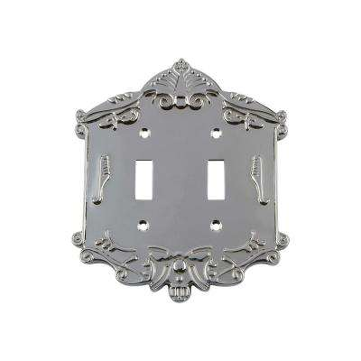 Victorian Switch Plate with Double Toggle in Bright Chrome