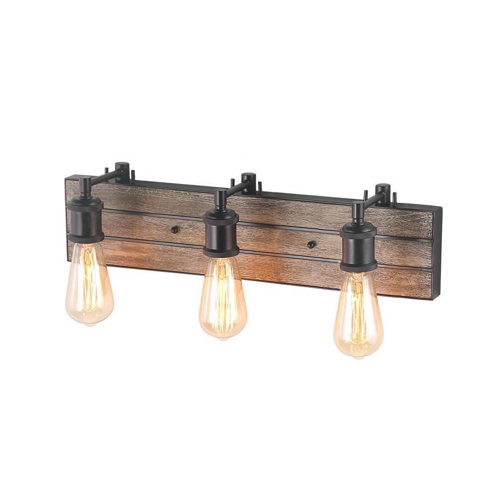 LNC 3-Light Bronze Wood Wall Sconce