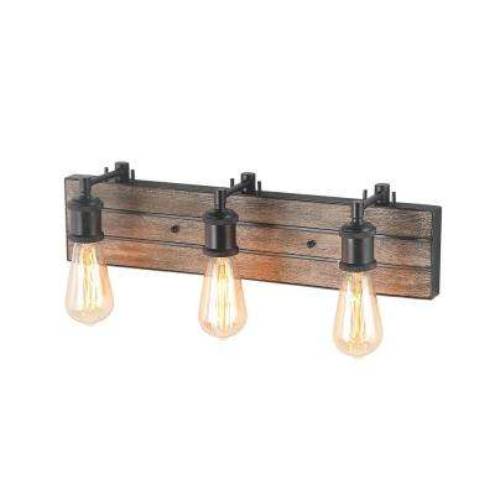 3-Light Bronze Wood Wall Vanity Light