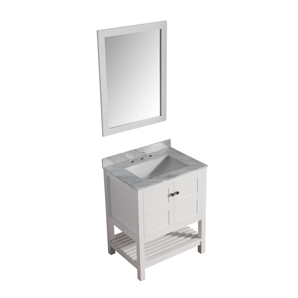 ANZZI Montaigne 30 in. W x 22 in. D Vanity in White with Marble Vanity Top in Carrara White with White Basin and Mirror