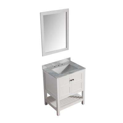 Montaigne 30 in. W x 22 in. D Vanity in White with Marble Vanity Top in Carrara White with White Basin and Mirror