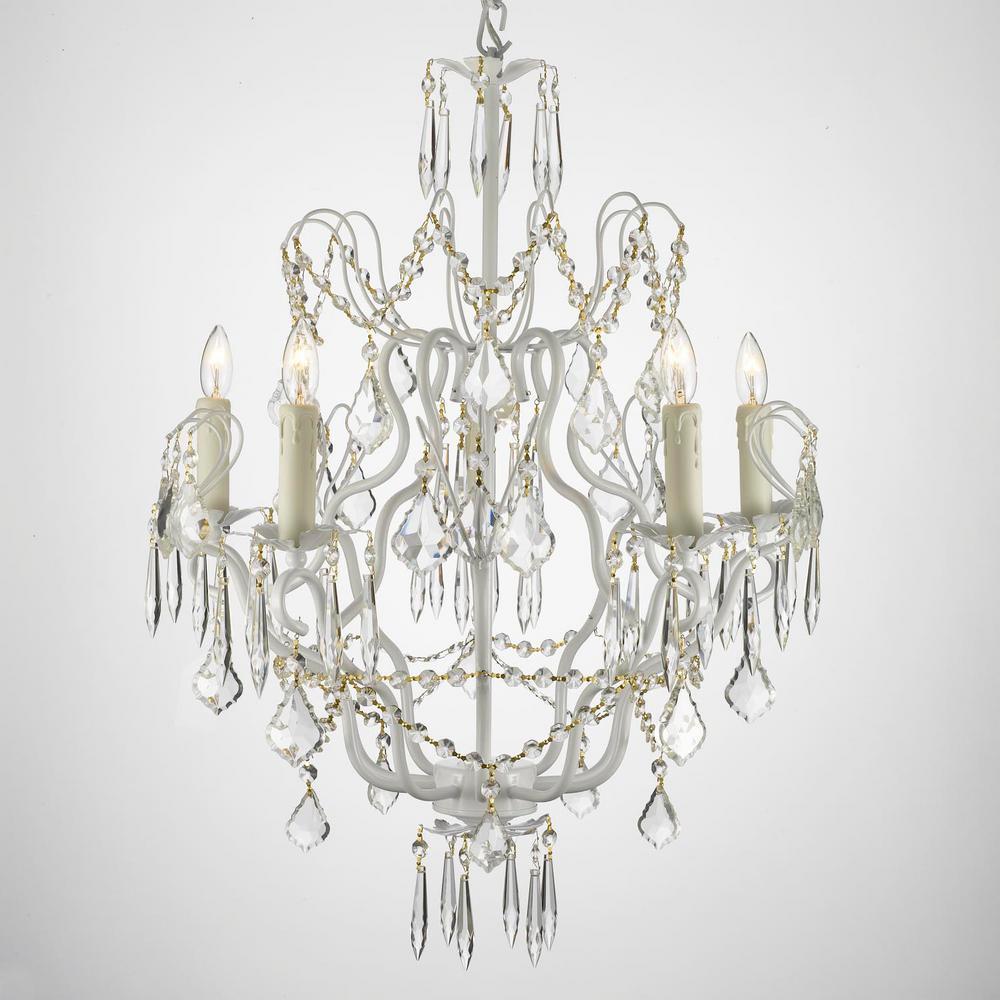 Versailles 5 Light White Chandelier