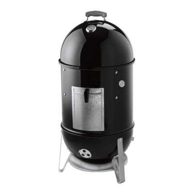 18 in. Smokey Mountain Cooker Smoker in Black with Cover and Built-In Thermometer