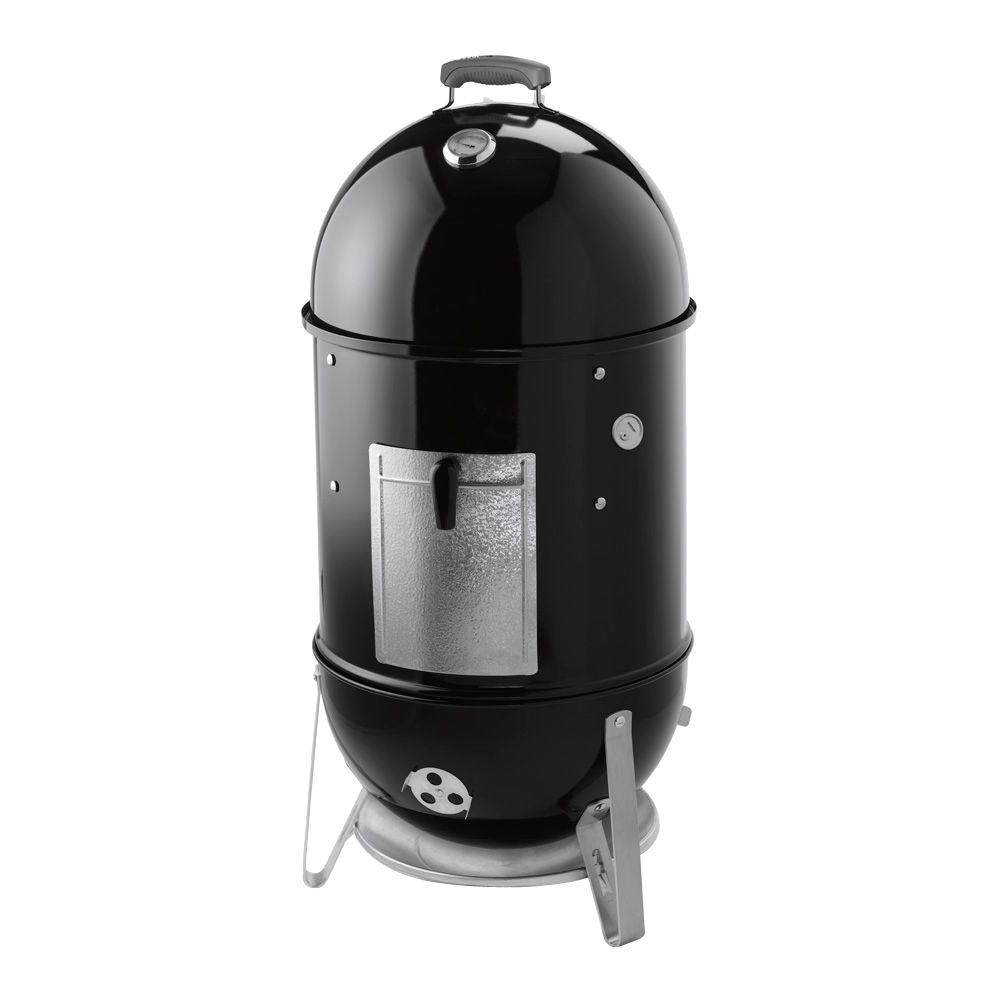 Weber 18-1/2 in. Smokey Mountain Cooker Smoker in Black with Cover and Built-In Thermometer