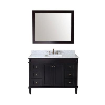 Virtu USA Tiffany 49 in. W Bath Vanity in Espresso with Marble Vanity Top in White with Square Basin and Mirror