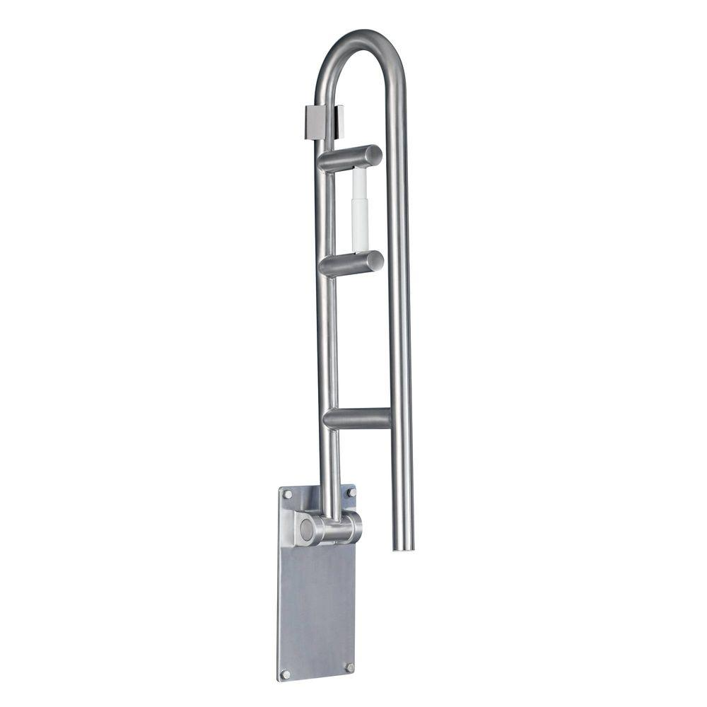 MOEN 30 in. x 1-1/4 in. Flip-up Screw Grab Bar with Paper Holder in Peened Stainless Steel