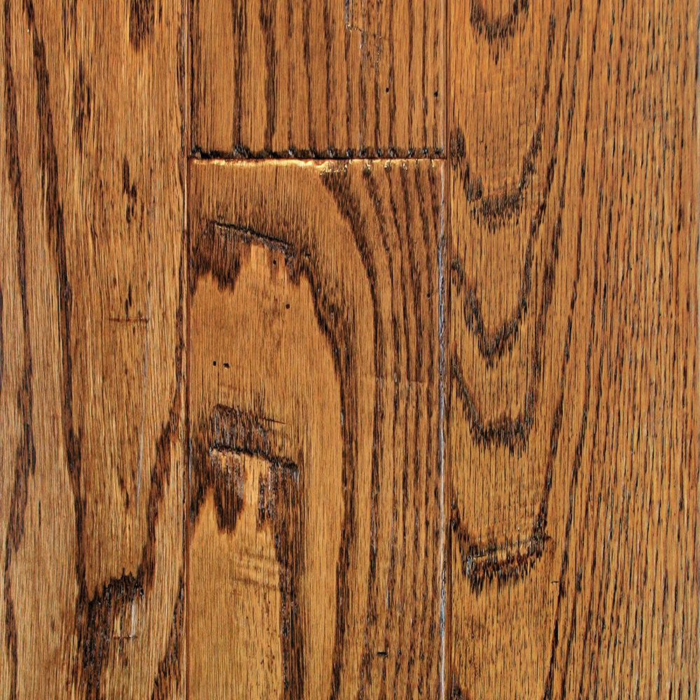 Oak Golden Wheat Hand Sculpted Solid Hardwood Flooring - 5 in.