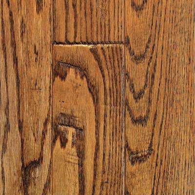 Oak Golden Wheat Hand Sculpted Solid Hardwood Flooring - 5 in. x 7 in. Take Home Sample