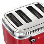 Russell Hobbs Retro Style 4-Slice Red Stainless Steel Toaster with Built-In Timer