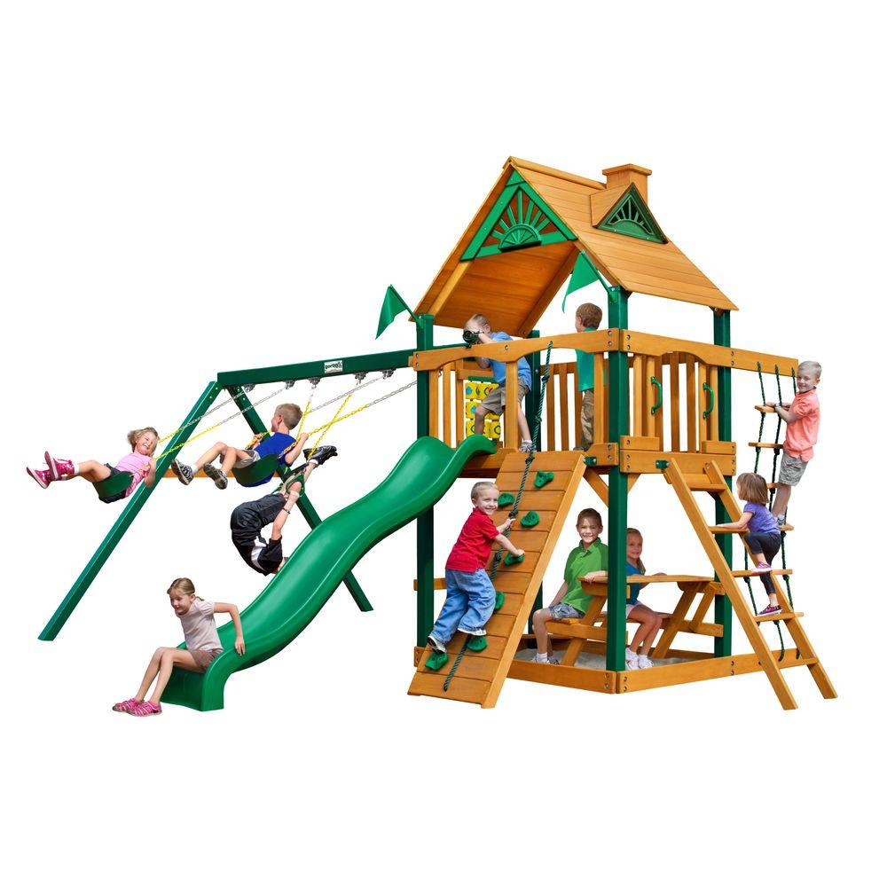 Gorilla Playsets Chateau Cedar Swing Set with