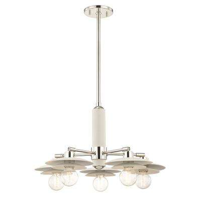 Milla 5-Light Polished Nickel Chandelier with White Shade