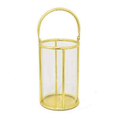 15.5 in. Glass Candle Holder with Gold Metal Base in Gold